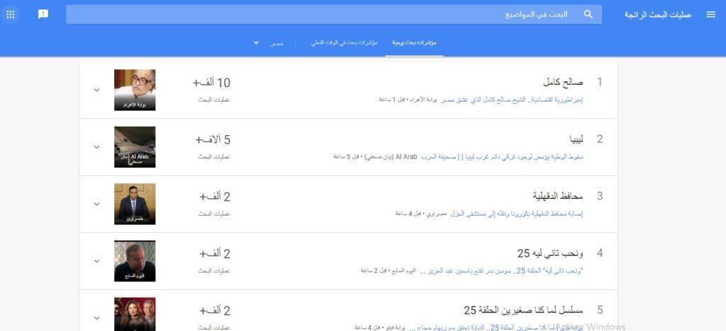 سيو اليوتيوب - استعمال google trends للبحث عن الكلمات المفتاحية وتقصيى الموضوعات الأكثر شيوعا حاليا